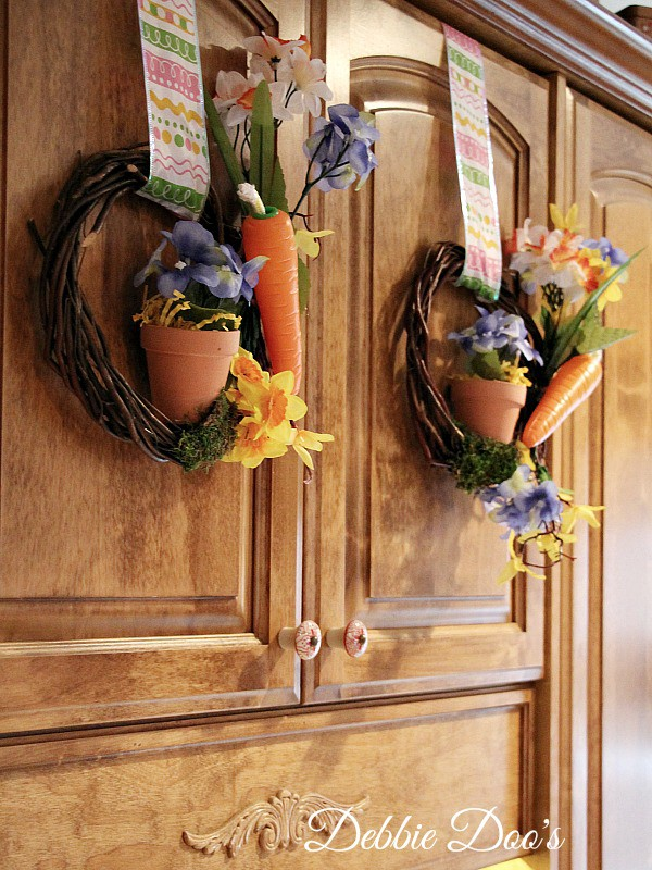 Dollar tree Spring diy wreaths for the cabinets