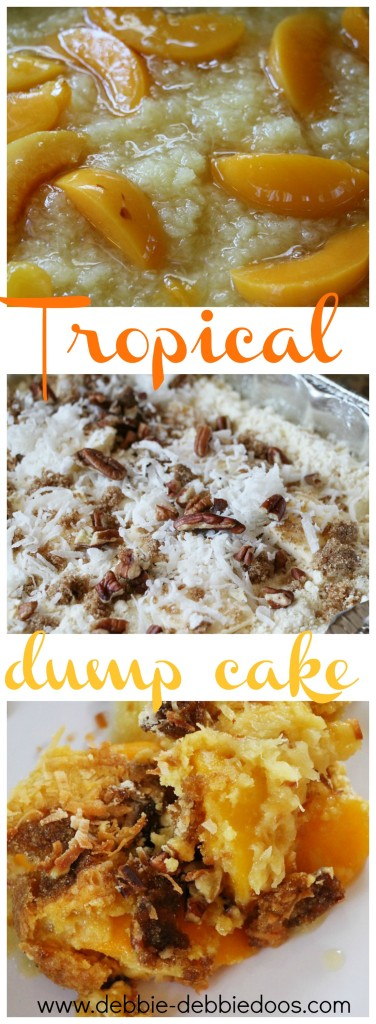 How to make a tropical dump cake with pineapple and peaches