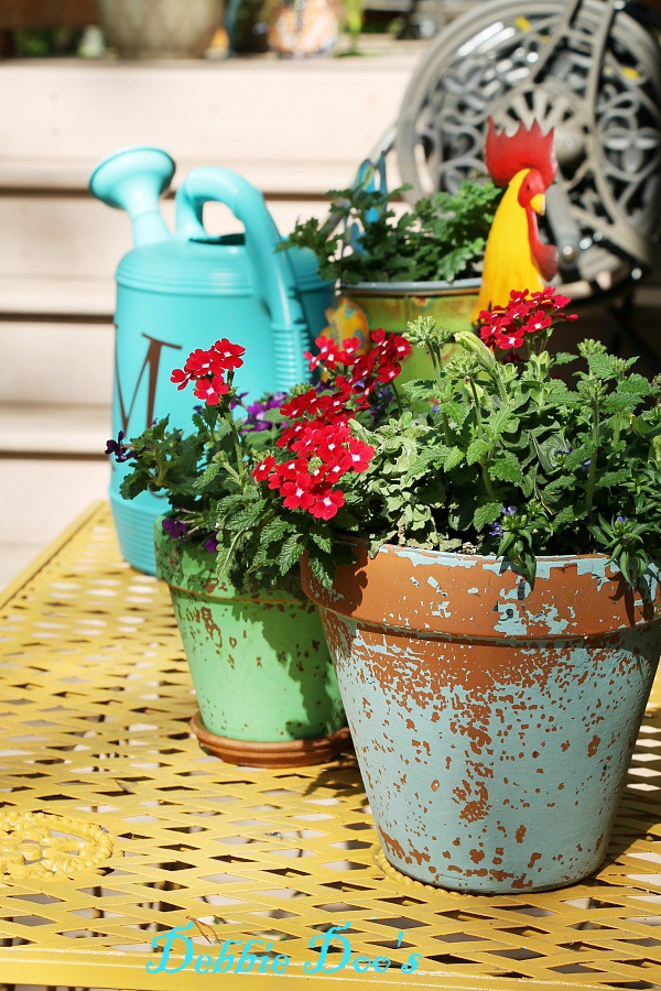 chippy chalk painted pots