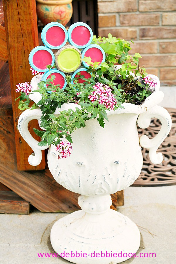 diy flower pot ornament with canning lids