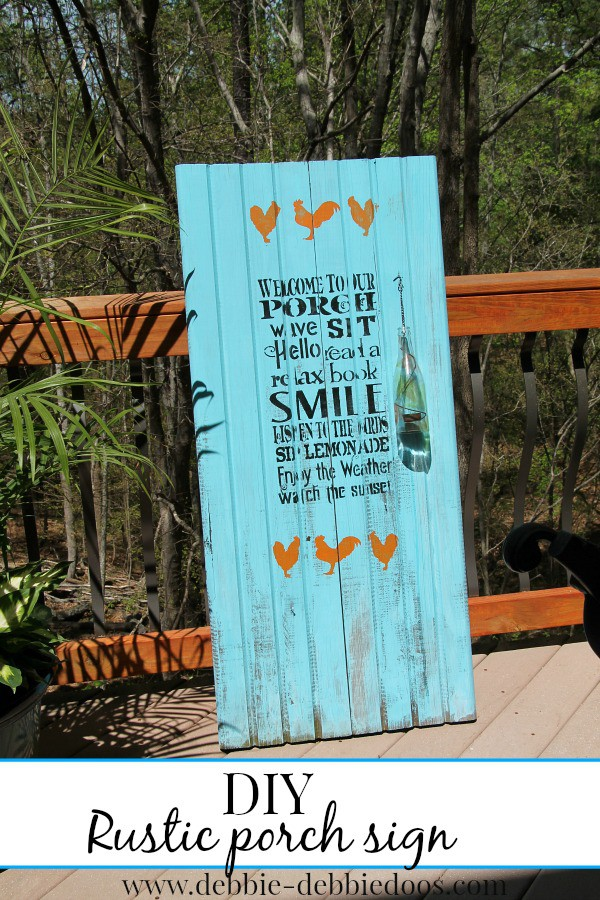 diy rustic porch sign with roosters