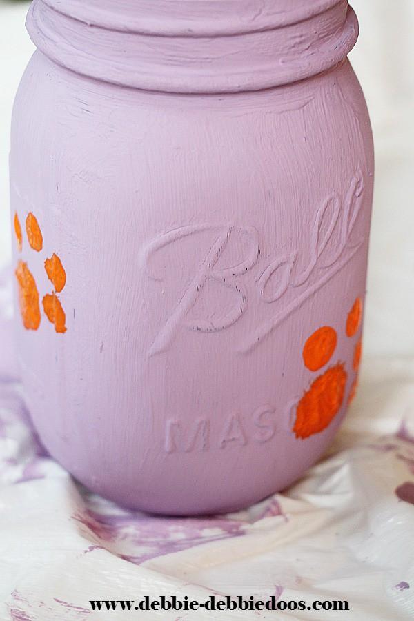 Clemson tiger mason jar