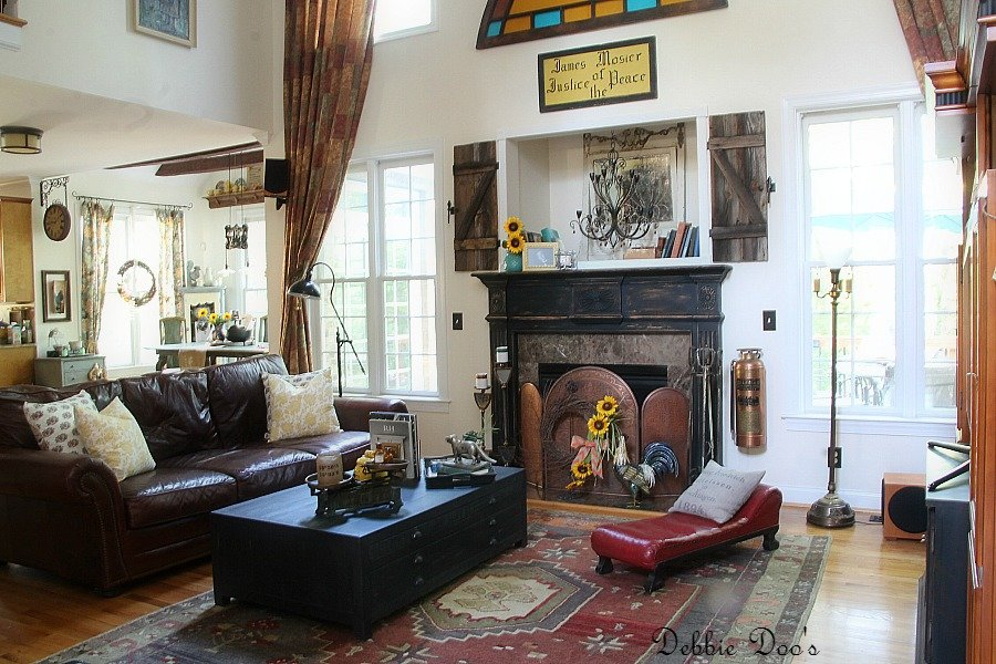 Rustic old world style family room