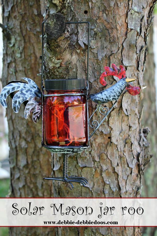 Solar mason jar rooster