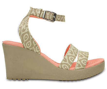 stucco / tumbleweed crocs wedge