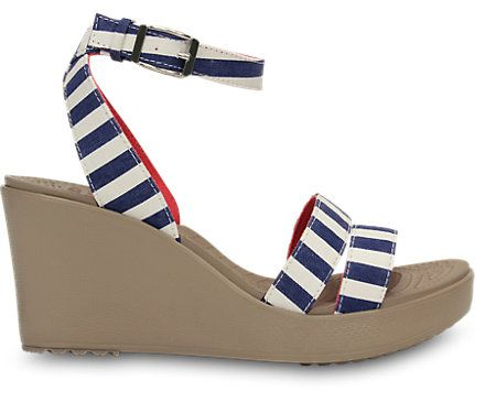 nautical navy / white crocs wedge