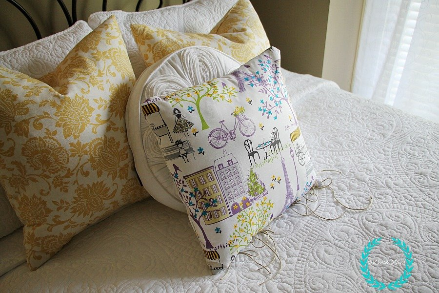 French paris fabric no sew pillow