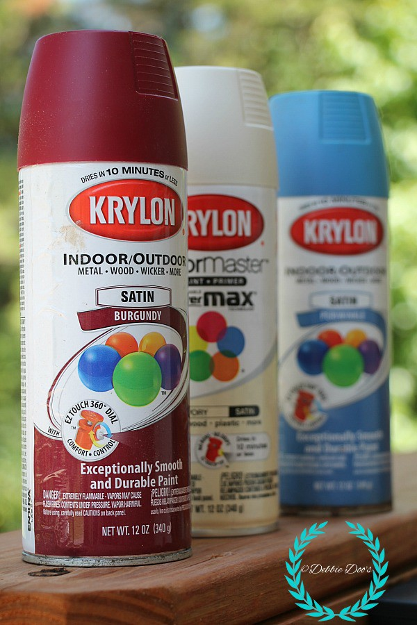 krylon spray paint colors, burgandy, ivory and periwinkle