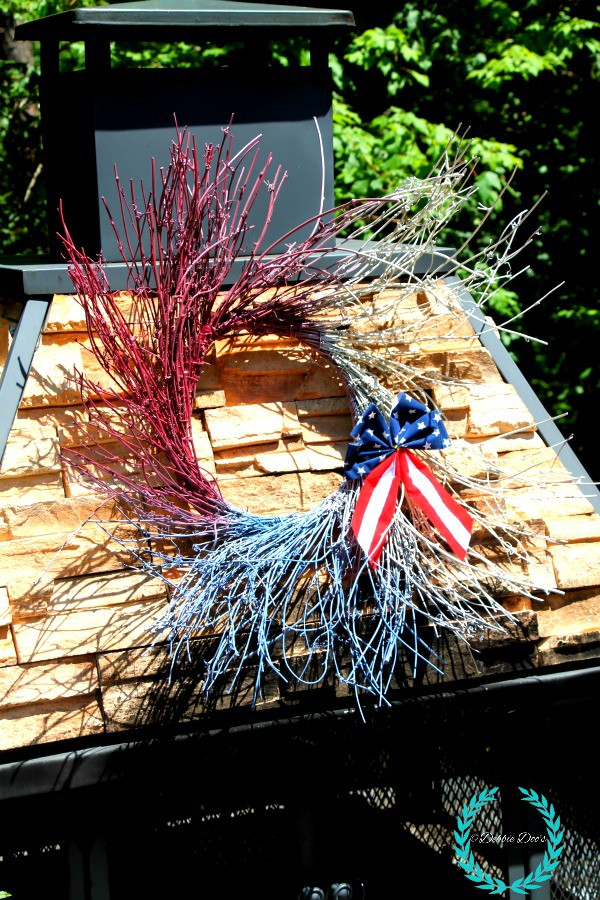 patriotic wreath with spray paint