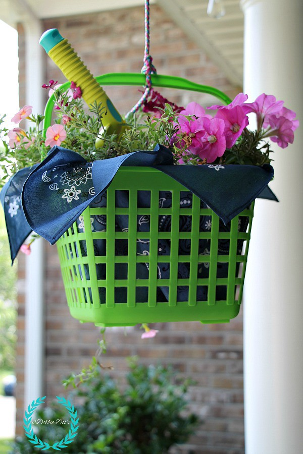 Dollar tree basket turned garden hanging basket