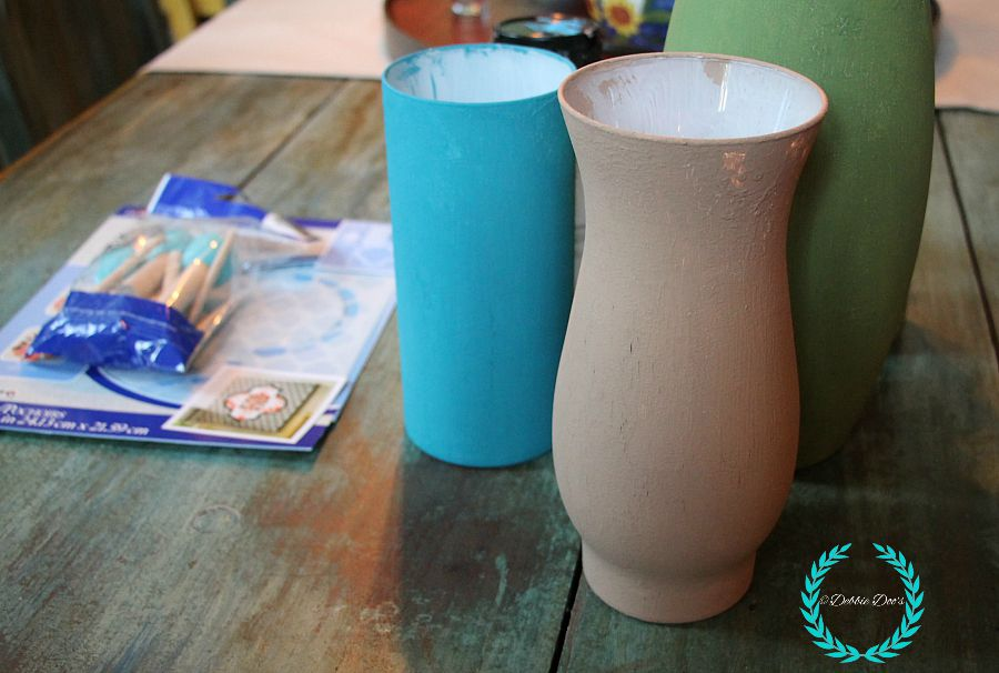 Glass vases painted with Americana decor chalky paint. Must see the after