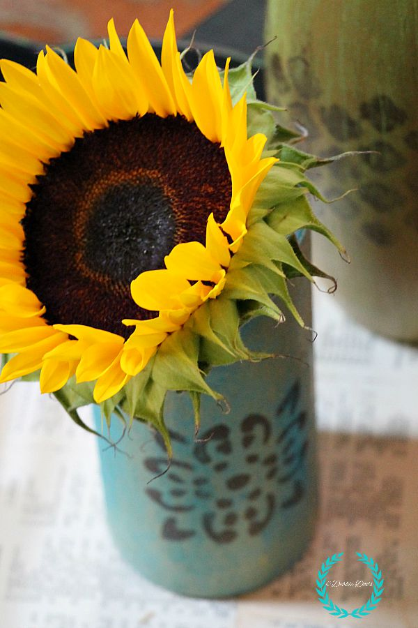 Happy Sunflower in decorative diy vase painted with chalky paint and stencils