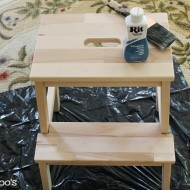 Painting a step stool with rit dye