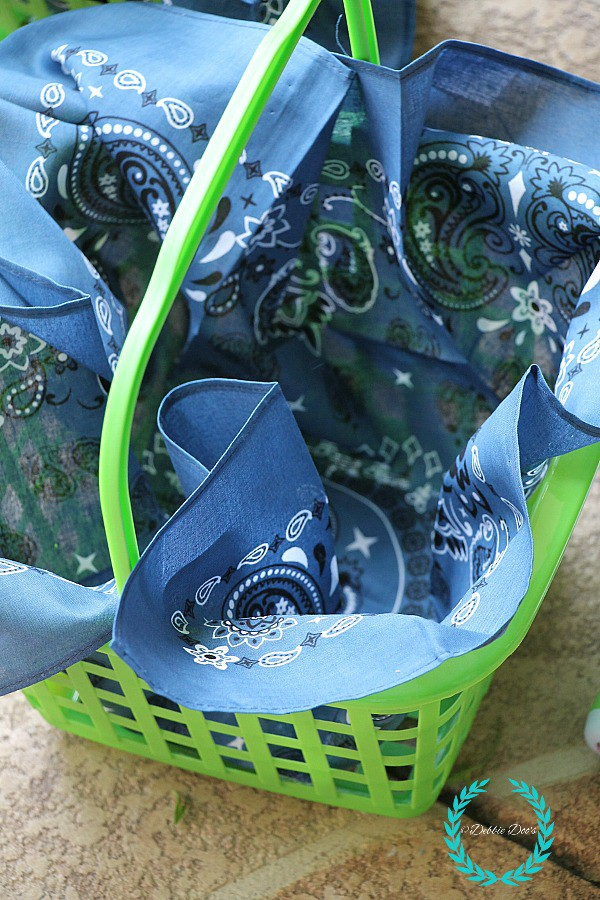 bandanna in basket for hanging garden planter