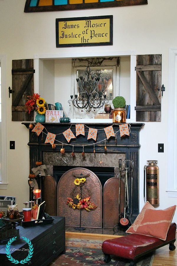 Decorating with owls for fall in the family room