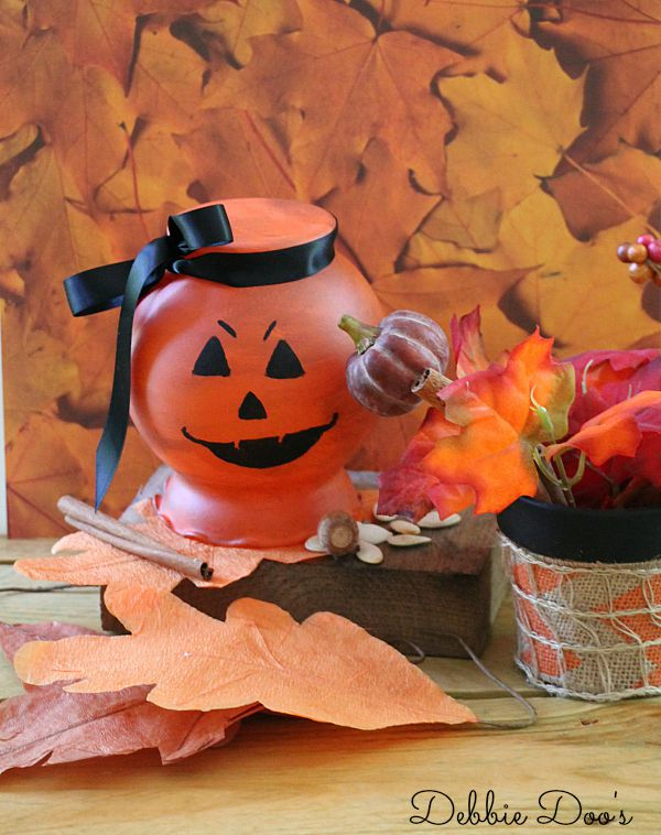 How to make a pumpkin vase from the dollar tree for fall