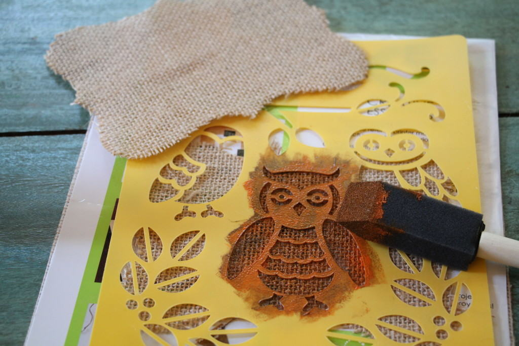 owl stencil on burlap