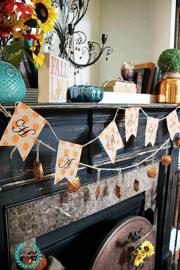 Whimsicle fall mantel with polka dot burlap banner