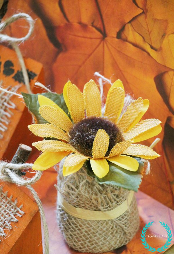 burlap wrapped sunflower