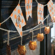 copper owls and polka dot banner