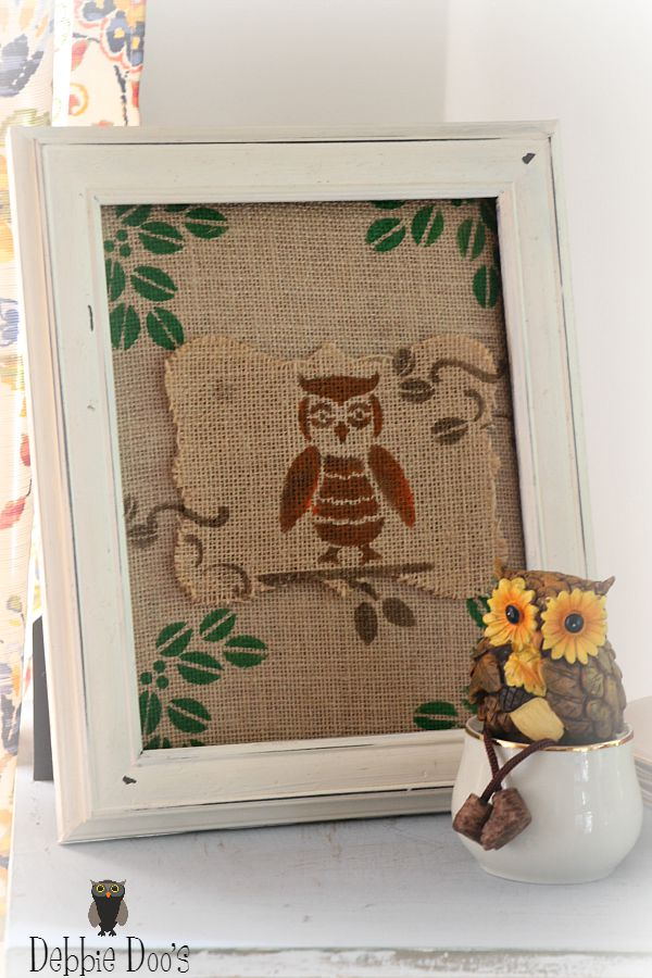 diy burlap owl artwork