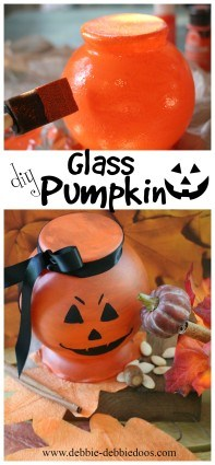 diy glass pumpkin from the dollar tree
