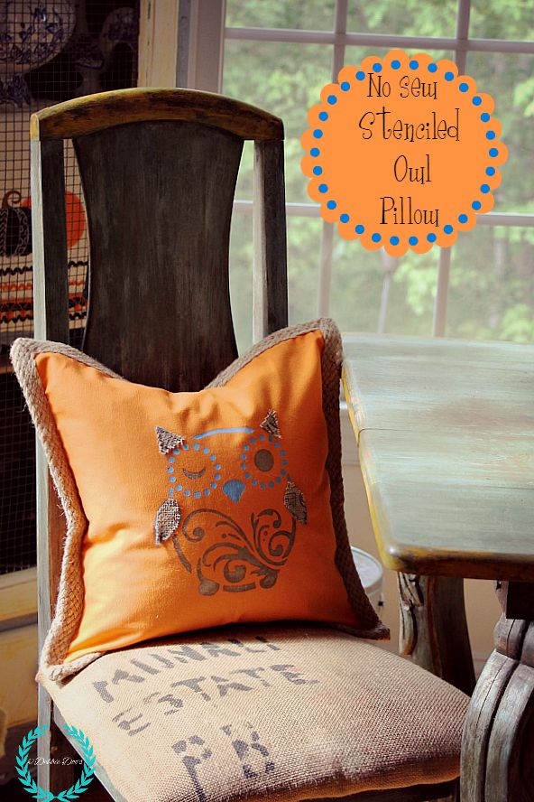diy no sew stenciled owl pillow