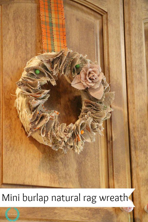 mini burlap rag wreath