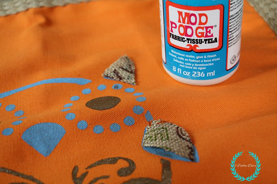 mod podge on fabric