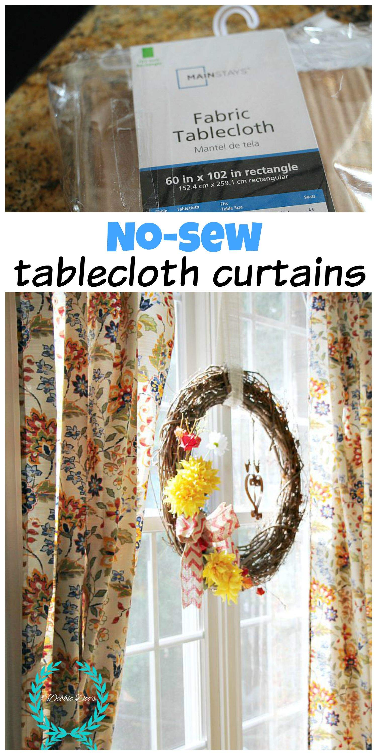 No Sew Tablecloth Curtains Debbiedoos