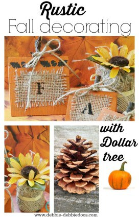rustic fall decorating with dollar tree