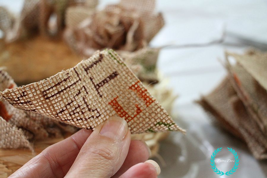 step by step on how to make a burlap rag natural wreath for fall