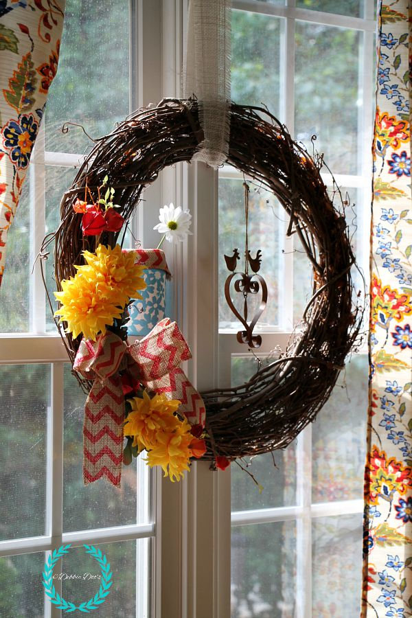 wreath for kitchen window with chevron burlap