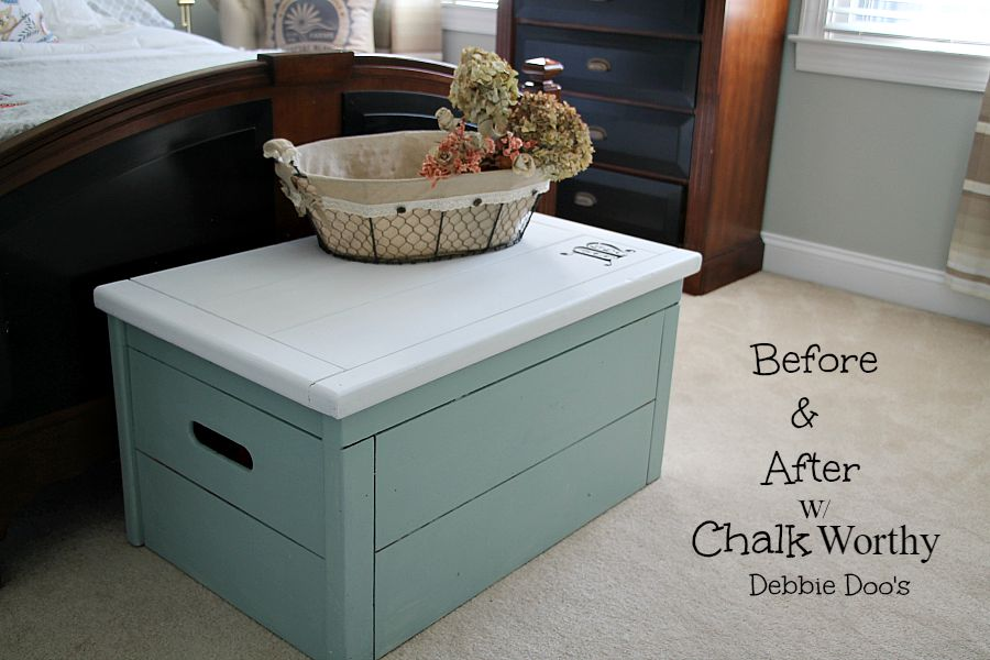 Before & After toy box transformation with chalkworthy paint