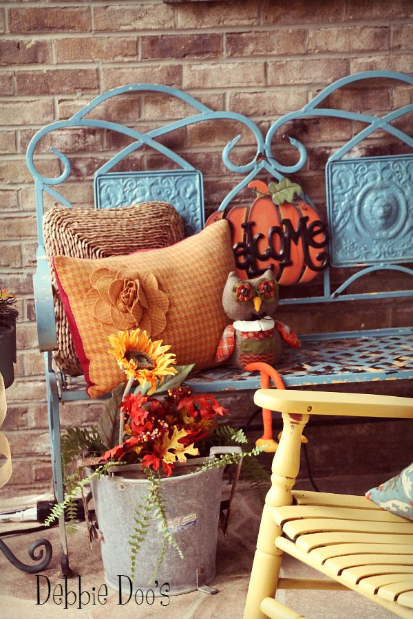 Country rustic fall porch decorating
