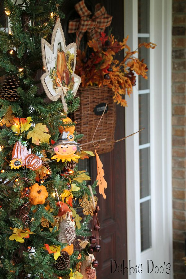 Fall tree for front porch and decor from the dollar tree