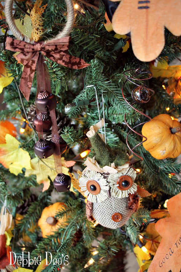 fall tree with owls