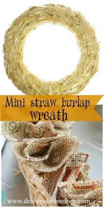 how to make a mini straw burlap wreath. You can hang them on your chairs, cabinets, windows, mirrors and more!