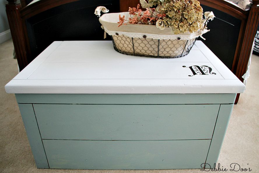 toy box makeover with chalkworthy paint