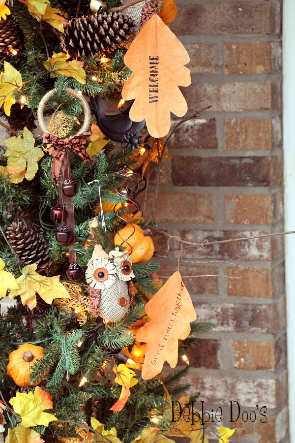 welcome fall tree on the porch with owls and rustic decor