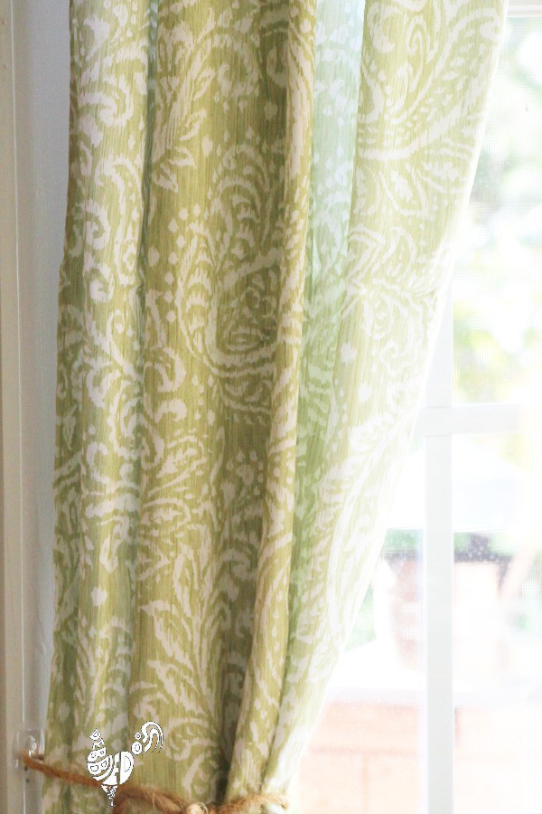 Green paisley tablecloth curtains