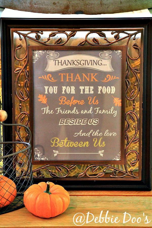 Thanksgiving printable framed