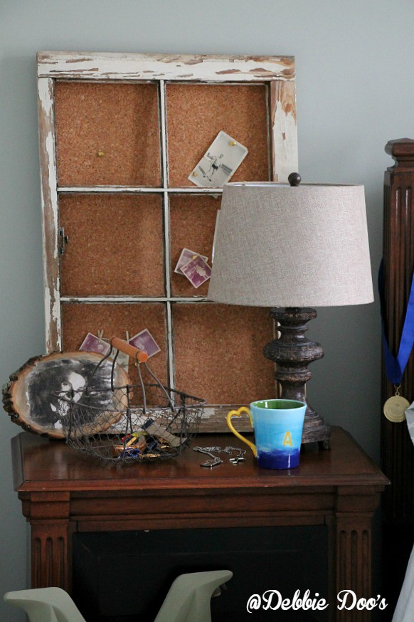 recycled old window to bulletin board idea