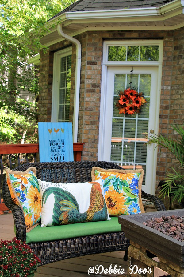 rooster and sunflower outdoor pillows