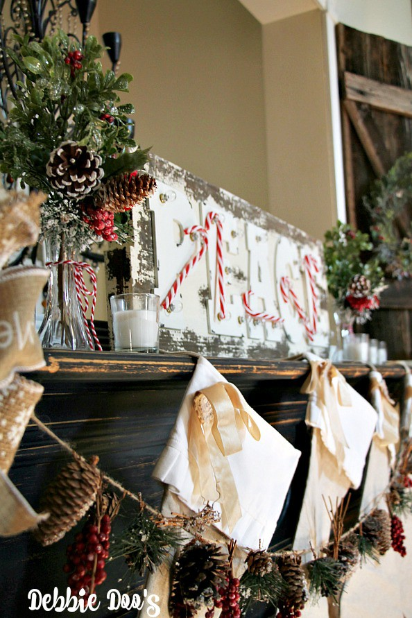 Christmas mantel and rustic pinecobe garland