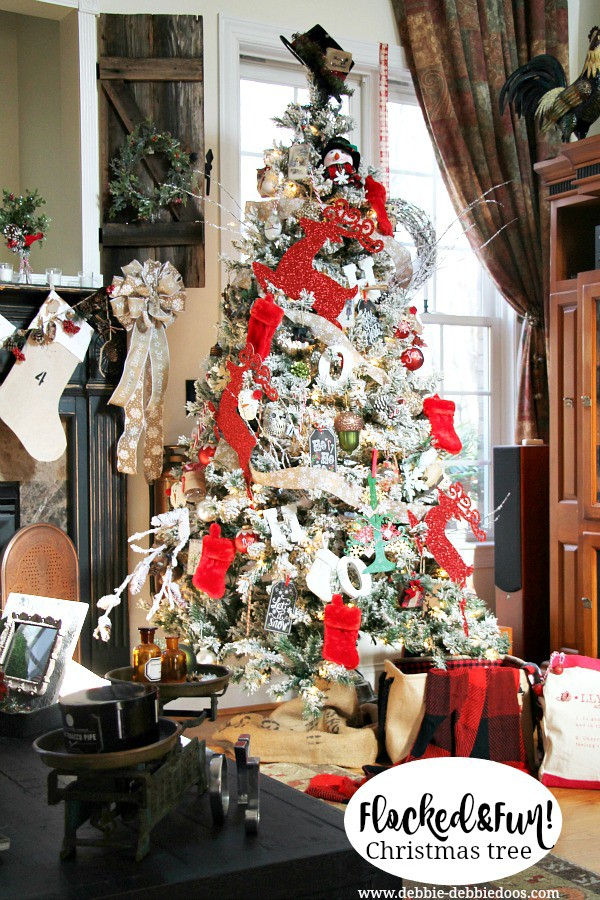 flocked and fun christmas tree decorating ideas - White Christmas Tree With Red Decorations