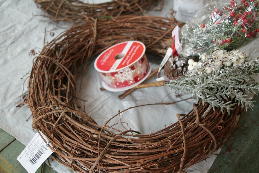 Supplies to make a winter owl wreath