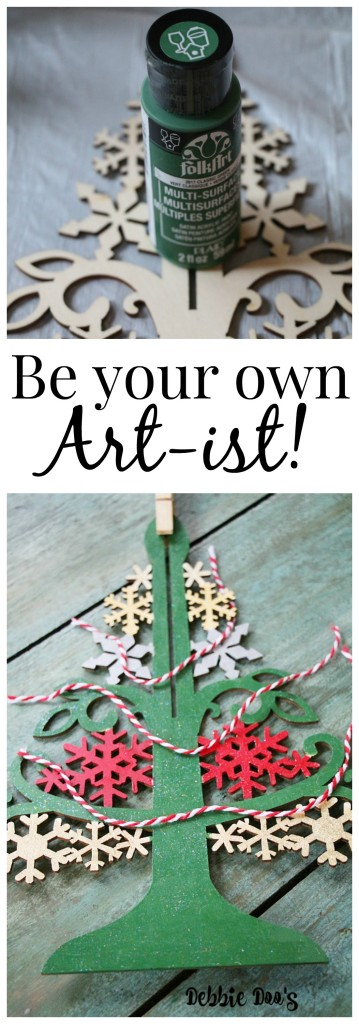 diy wood Christmas tree ornament with folk art craft paint and mod podge