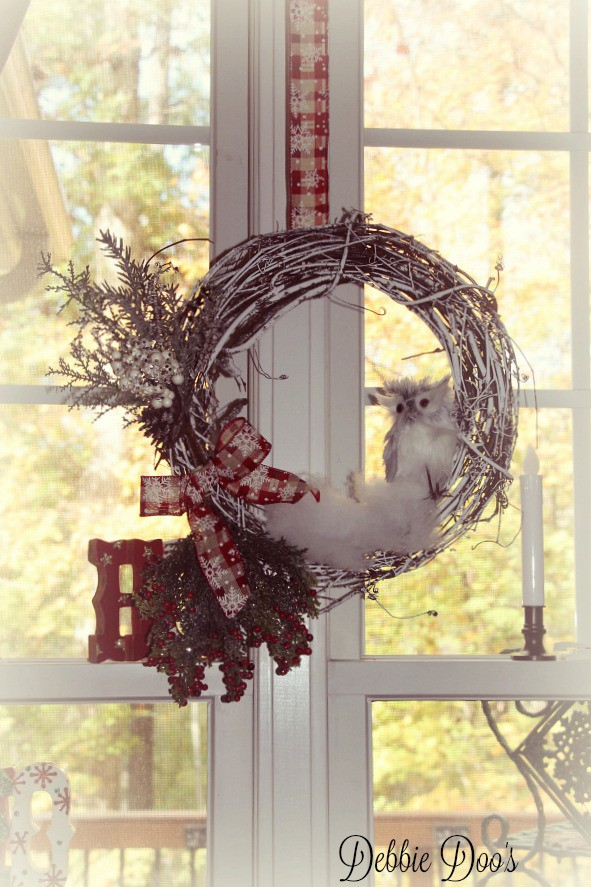 owl winter wreath copy cat