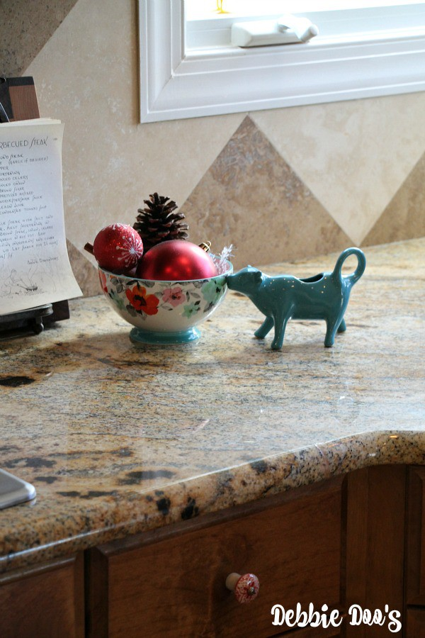 Christmas decorating in the kitchen with pioneer womans bowls
